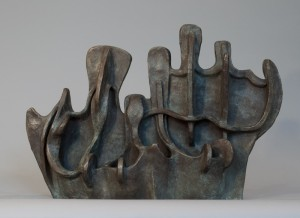 Ship With Mountains | 2006 Bronze. h 15 w 22 d 9 inches